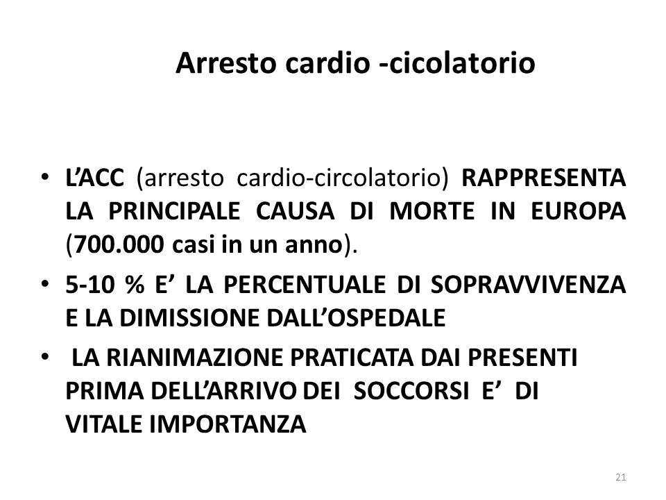 Arresto cardio -cicolatorio