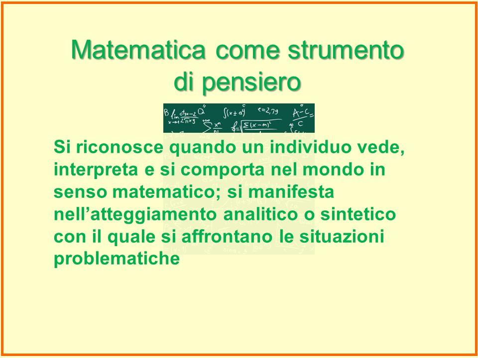 Matematica come strumento di pensiero