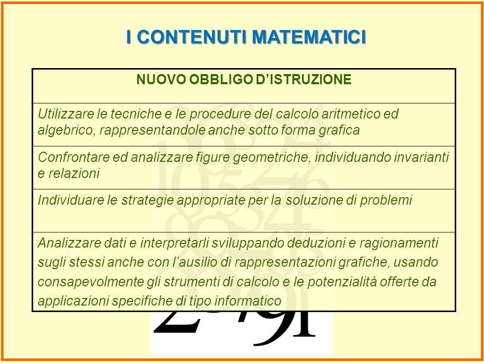 I CONTENUTI MATEMATICI NUOVO OBBLIGO D'ISTRUZIONE