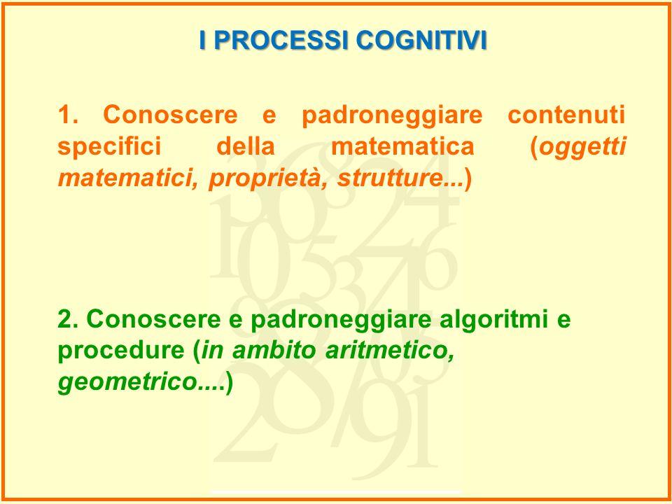 I PROCESSI COGNITIVI 1. Conoscere e padroneggiare contenuti specifici della matematica (oggetti matematici, proprietà, strutture...)