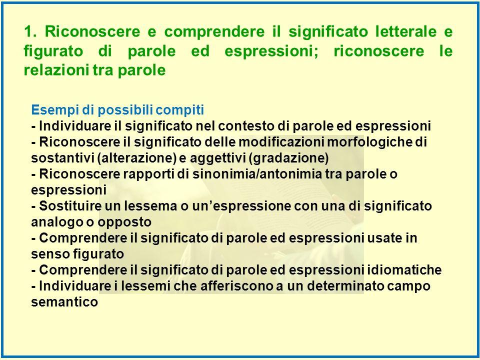 1. Riconoscere e comprendere il significato letterale e figurato di parole ed espressioni; riconoscere le relazioni tra parole