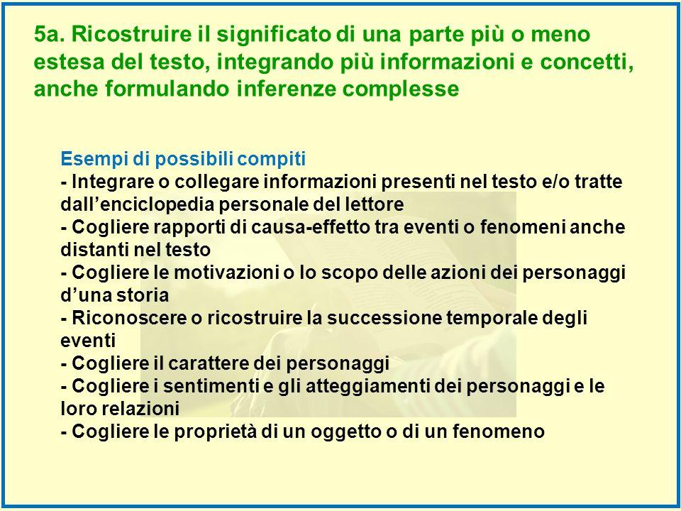 5a. Ricostruire il significato di una parte più o meno estesa del testo, integrando più informazioni e concetti, anche formulando inferenze complesse