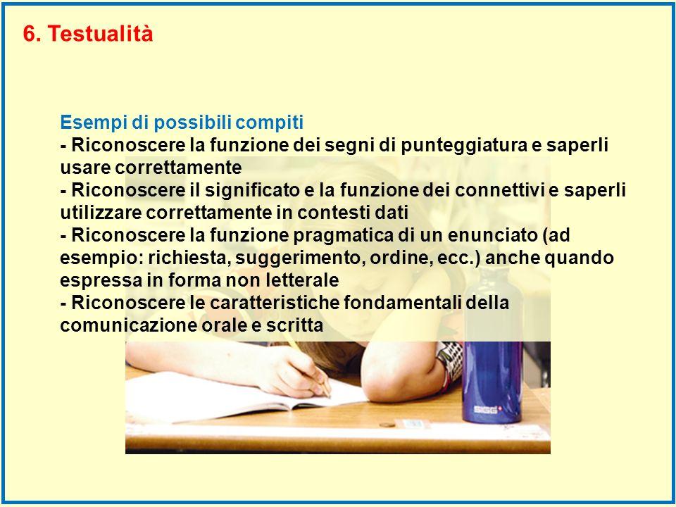 6. Testualità Esempi di possibili compiti