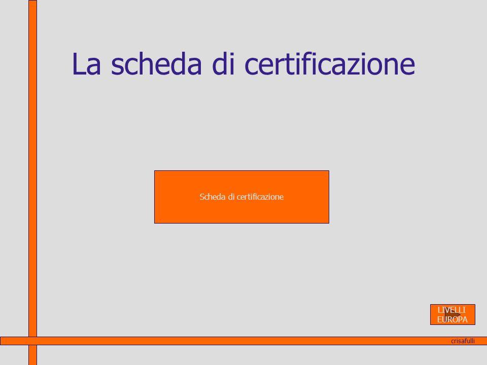La scheda di certificazione