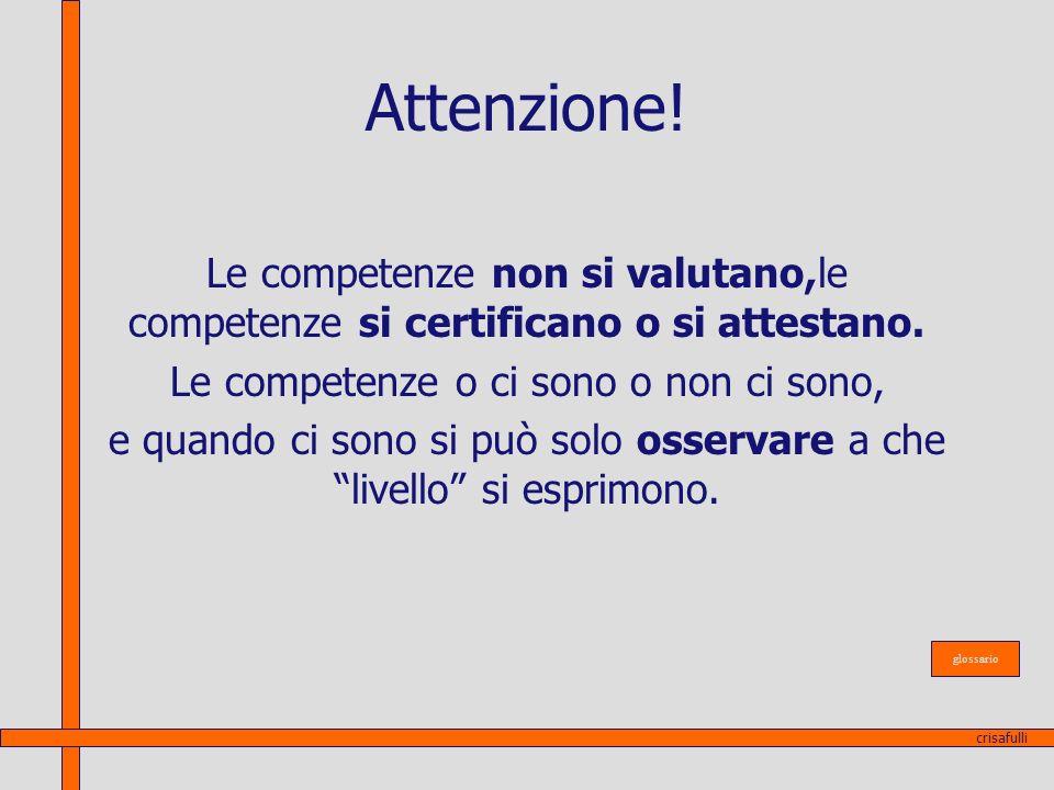 Attenzione! Le competenze non si valutano,le competenze si certificano o si attestano. Le competenze o ci sono o non ci sono,