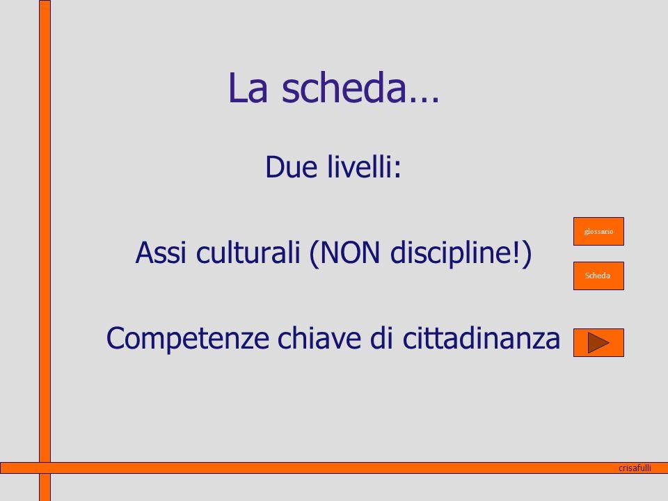 La scheda… Due livelli: Assi culturali (NON discipline!)