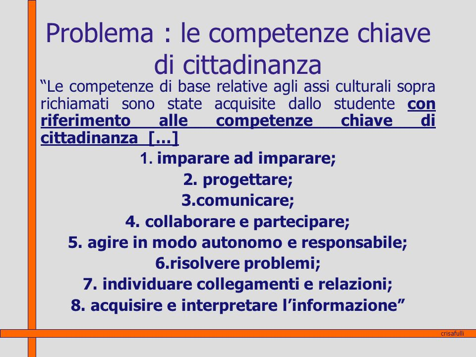 Problema : le competenze chiave di cittadinanza