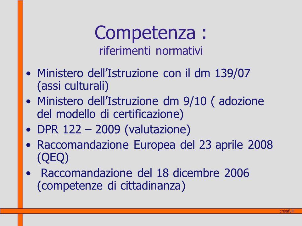 Competenza : riferimenti normativi
