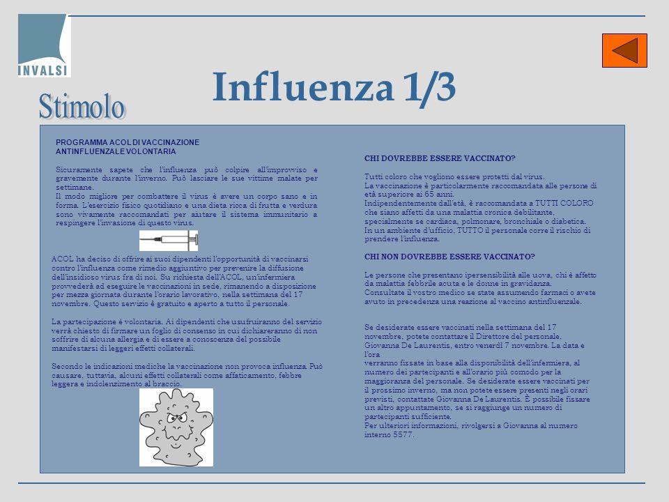 Influenza 1/3 Stimolo PROGRAMMA ACOL DI VACCINAZIONE