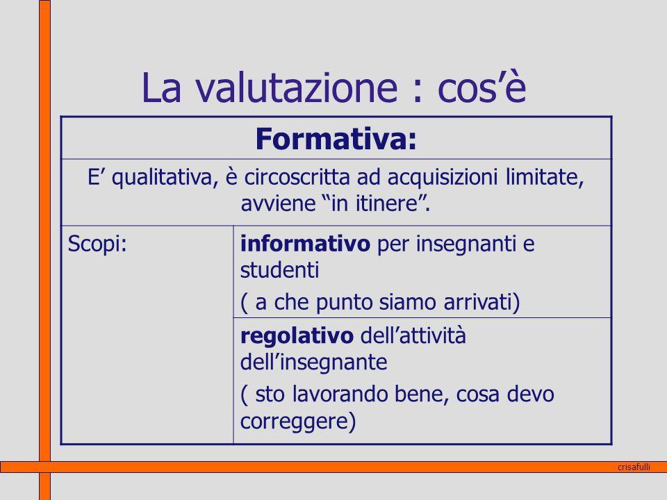 La valutazione : cos'è Formativa: