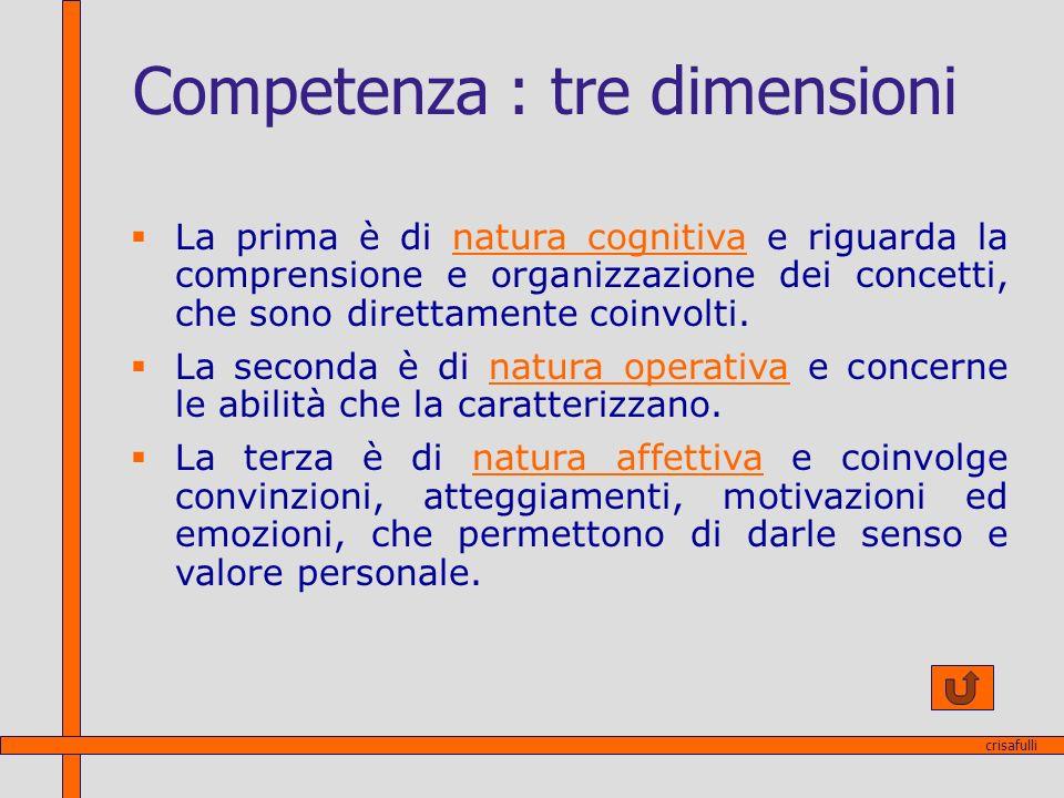 Competenza : tre dimensioni