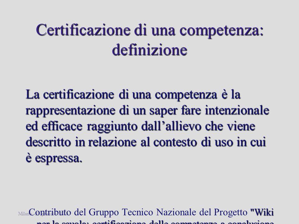 Certificazione di una competenza: definizione