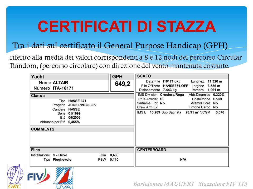CERTIFICATI DI STAZZA Tra i dati sul certificato il General Purpose Handicap (GPH)