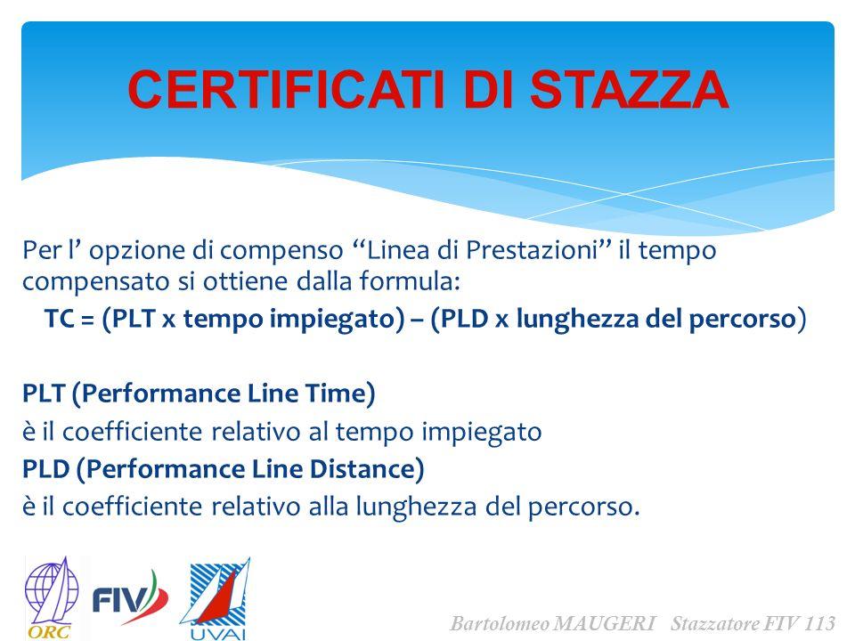 TC = (PLT x tempo impiegato) – (PLD x lunghezza del percorso)