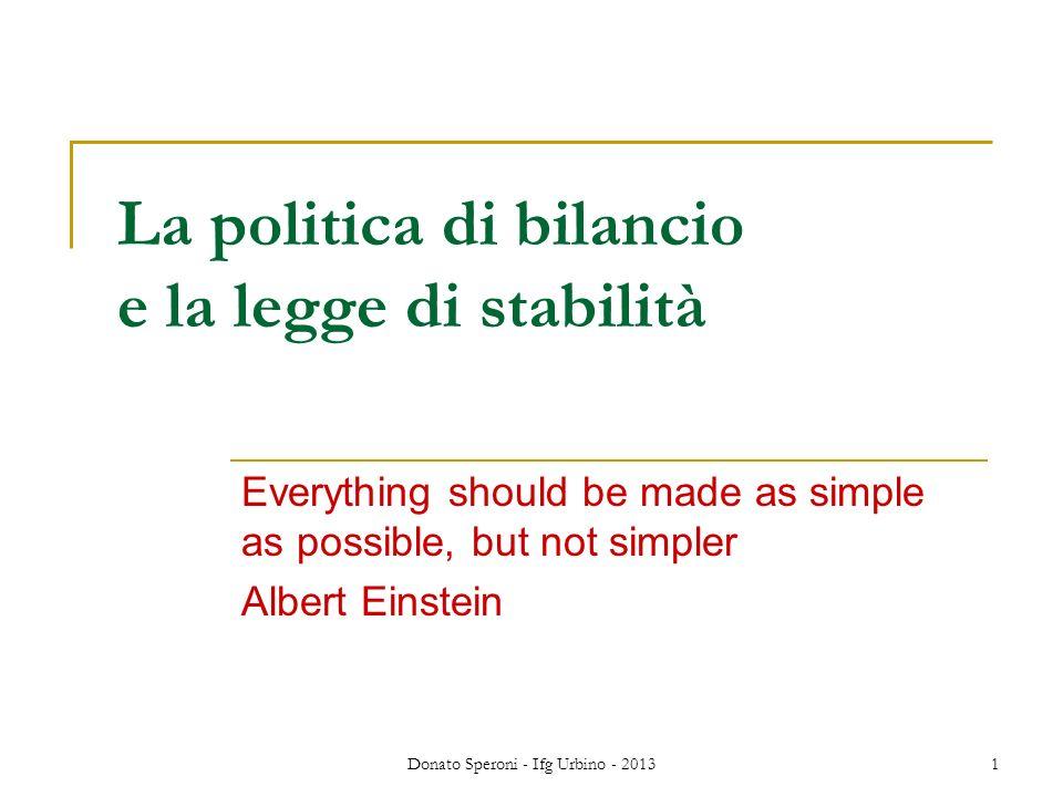 La politica di bilancio e la legge di stabilità