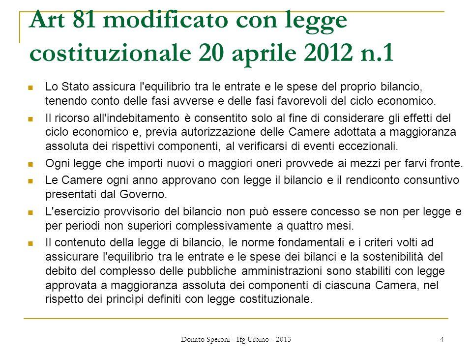 Art 81 modificato con legge costituzionale 20 aprile 2012 n.1