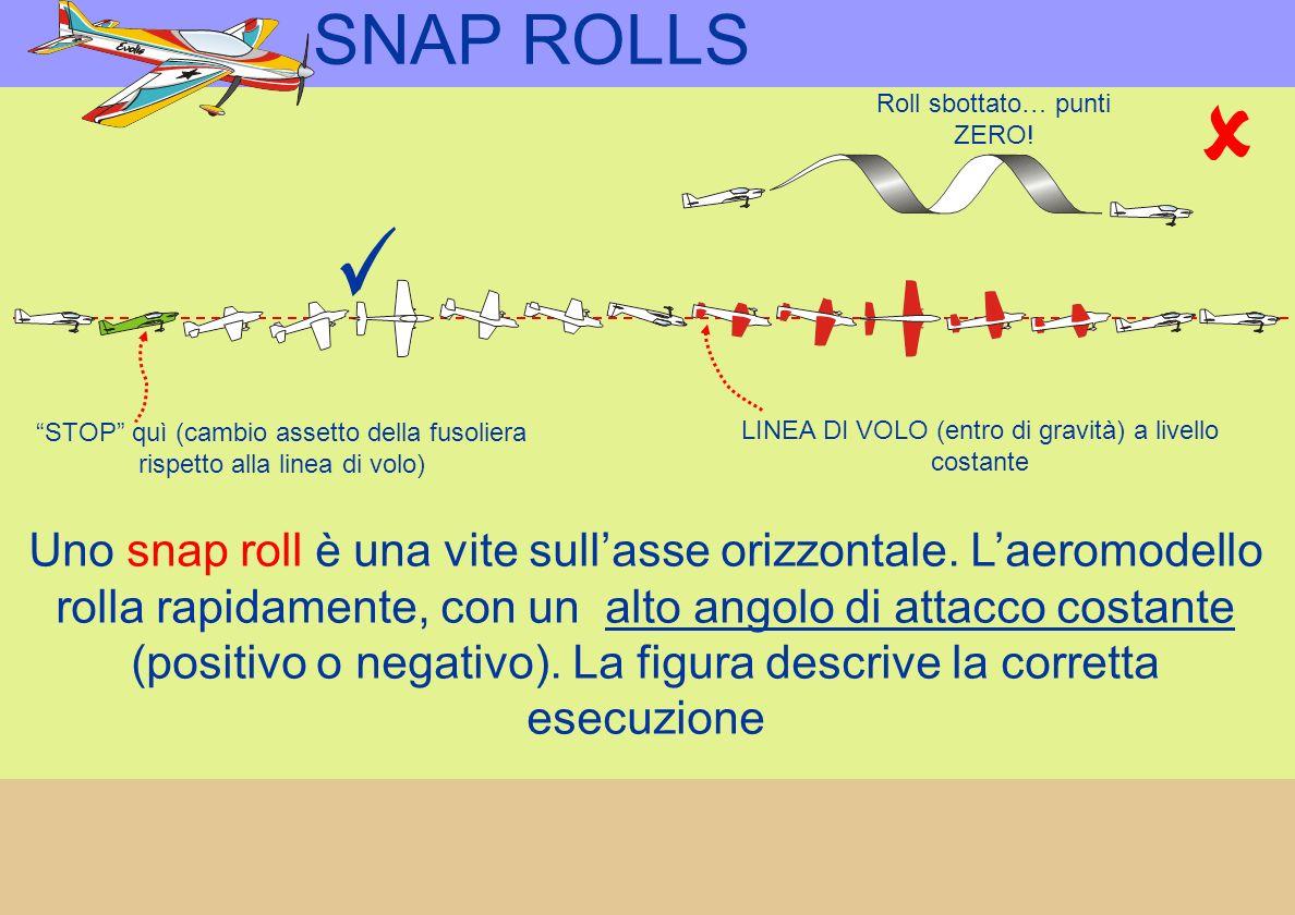 SNAP ROLLS Roll sbottato… punti ZERO! STOP quì (cambio assetto della fusoliera rispetto alla linea di volo)