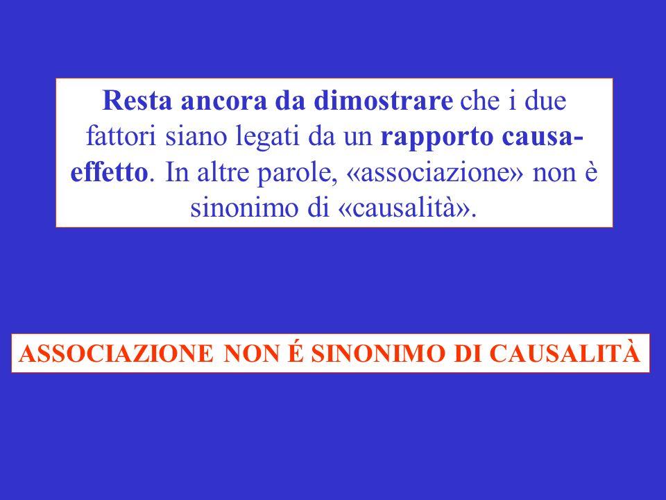 Resta ancora da dimostrare che i due fattori siano legati da un rapporto causa- effetto. In altre parole, «associazione» non è sinonimo di «causalità».