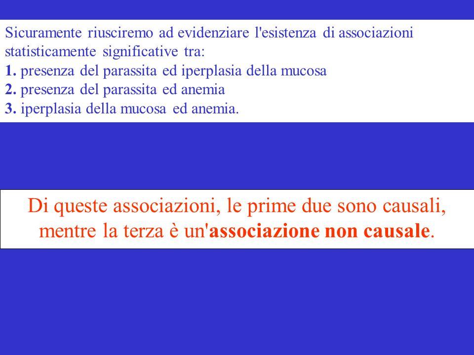 Sicuramente riusciremo ad evidenziare l esistenza di associazioni statisticamente significative tra: 1. presenza del parassita ed iperplasia della mucosa 2. presenza del parassita ed anemia 3. iperplasia della mucosa ed anemia.