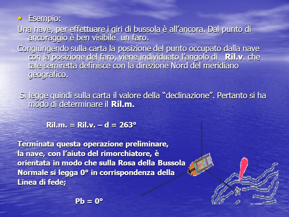 Esempio: Una nave, per effettuare i giri di bussola è all'ancora. Dal punto di ancoraggio è ben visibile un faro.