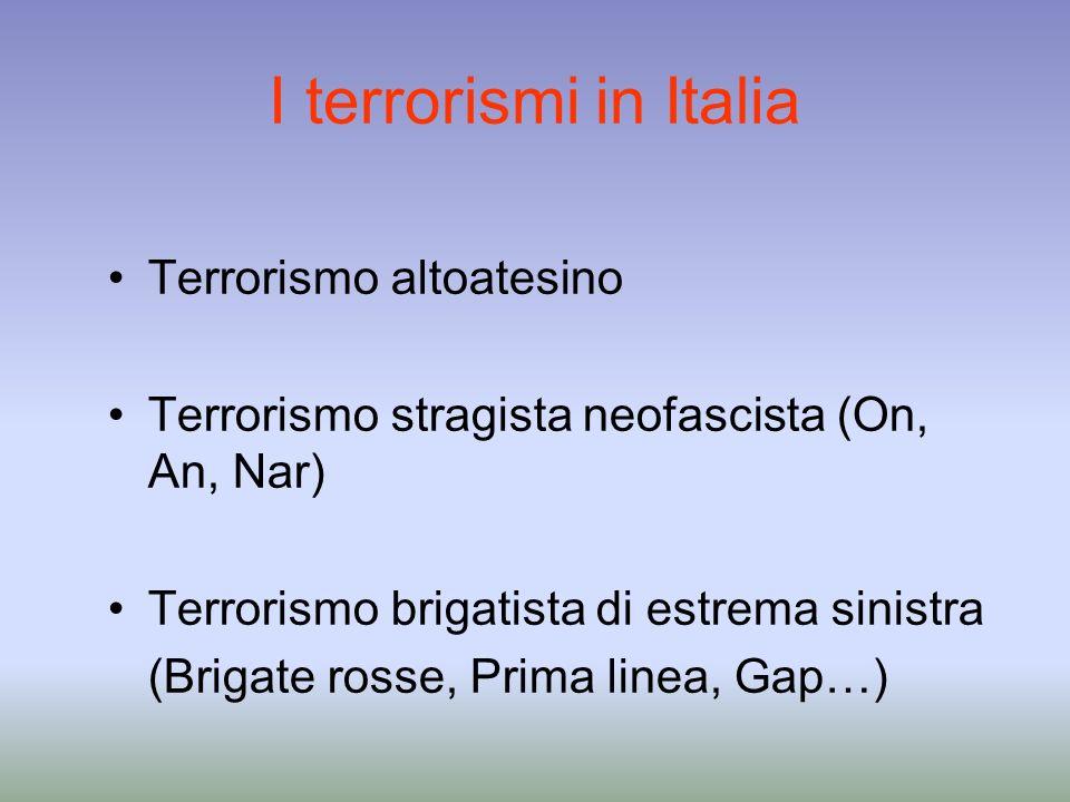 I terrorismi in Italia Terrorismo altoatesino
