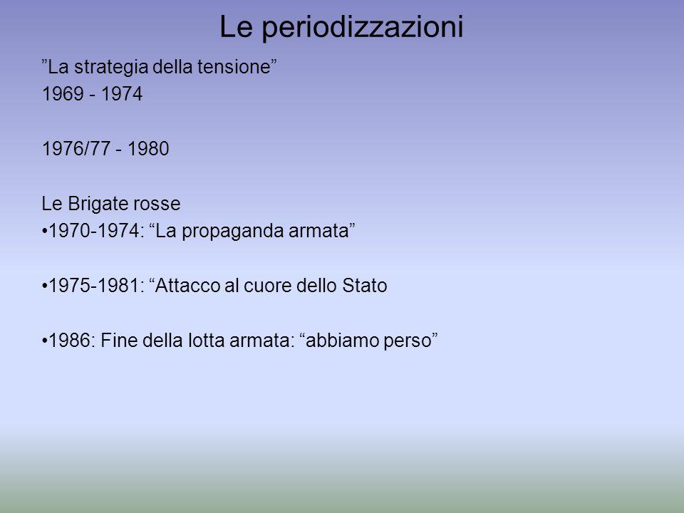 Le periodizzazioni La strategia della tensione 1969 - 1974