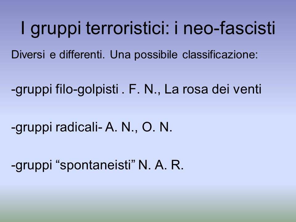 I gruppi terroristici: i neo-fascisti