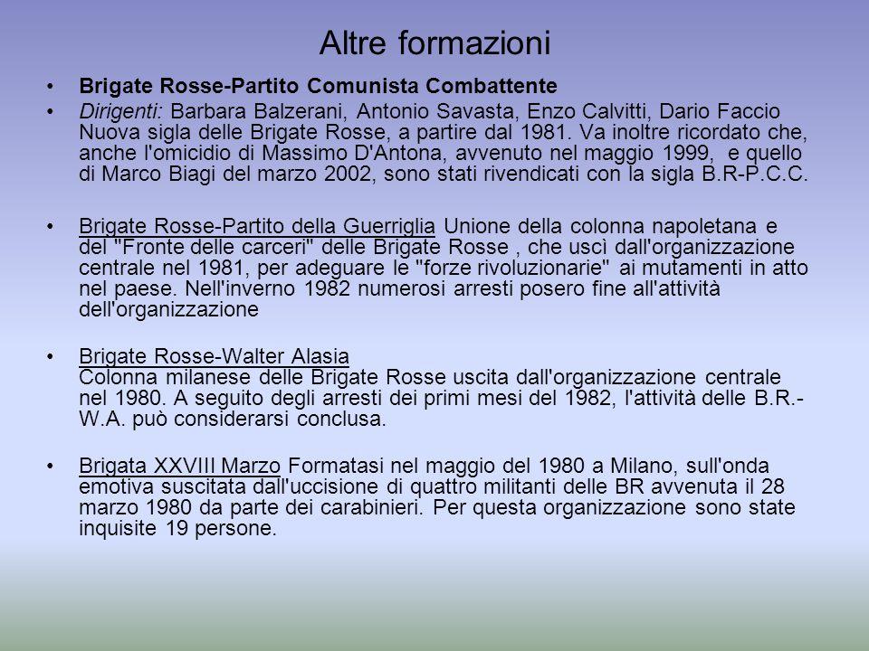 Altre formazioni Brigate Rosse-Partito Comunista Combattente