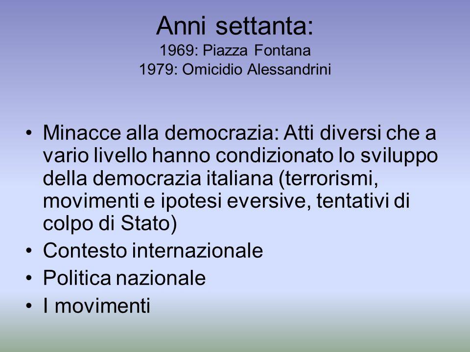 Anni settanta: 1969: Piazza Fontana 1979: Omicidio Alessandrini