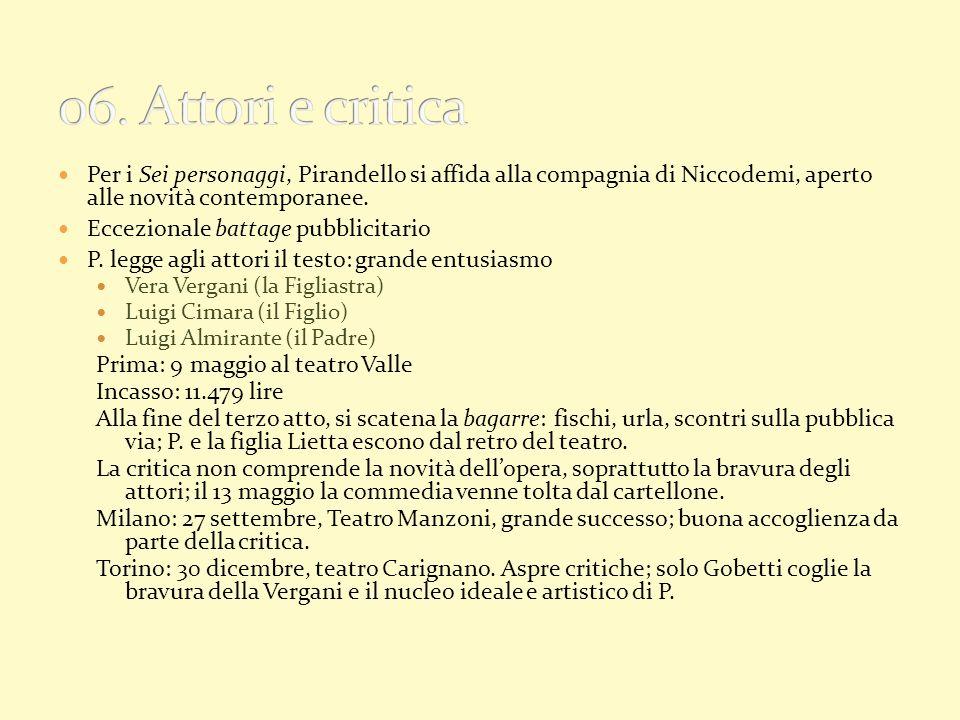 06. Attori e critica Per i Sei personaggi, Pirandello si affida alla compagnia di Niccodemi, aperto alle novità contemporanee.