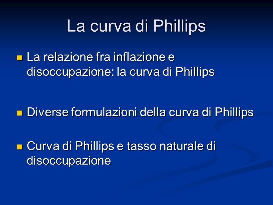 La curva di Phillips La relazione fra inflazione e disoccupazione: la curva di Phillips. Diverse formulazioni della curva di Phillips.