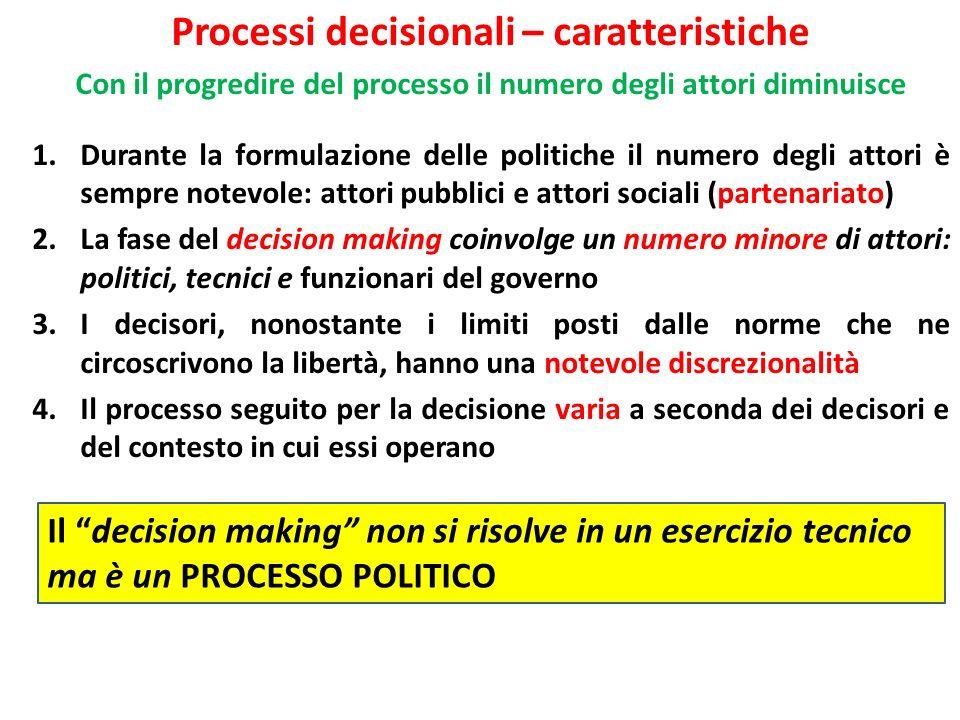 Processi decisionali – caratteristiche