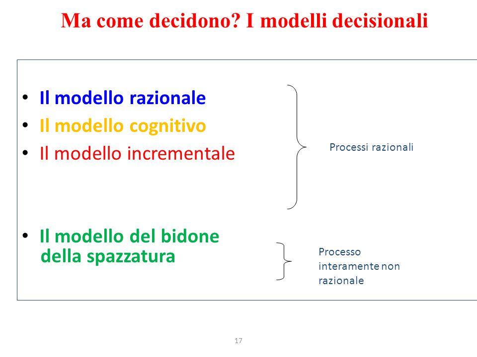 Ma come decidono I modelli decisionali