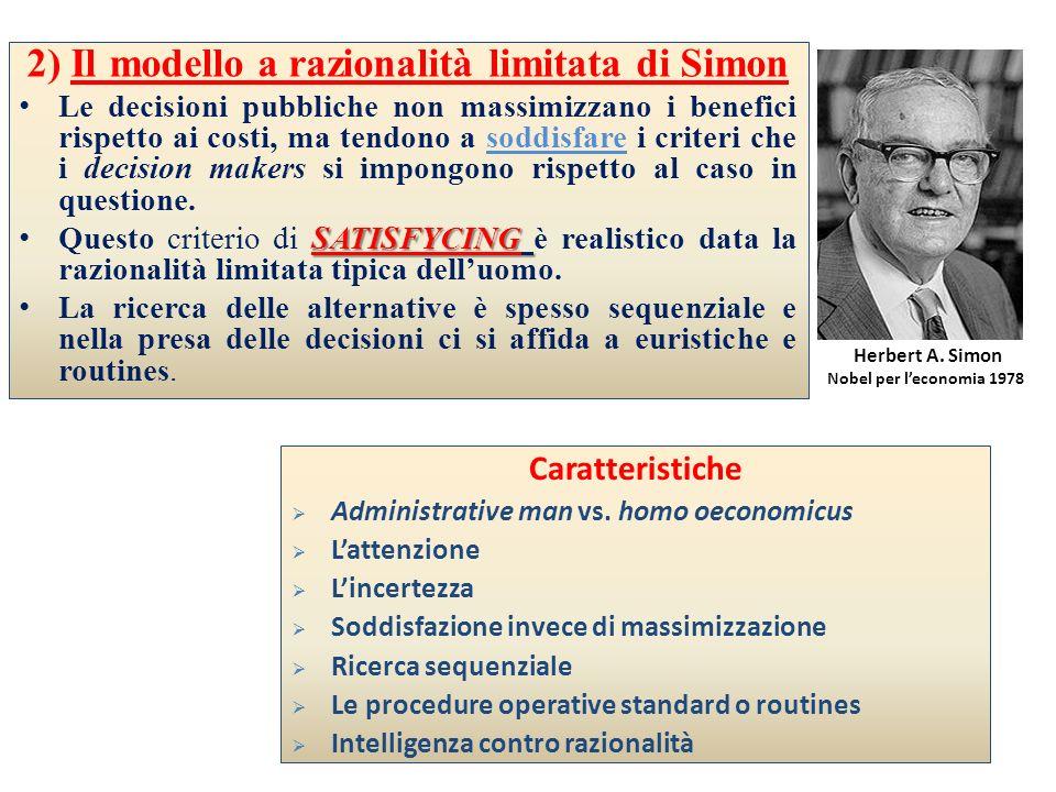 2) Il modello a razionalità limitata di Simon