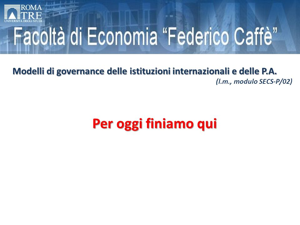 Modelli di governance delle istituzioni internazionali e delle P.A.