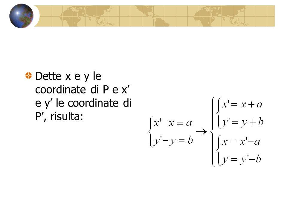 Dette x e y le coordinate di P e x' e y' le coordinate di P', risulta: