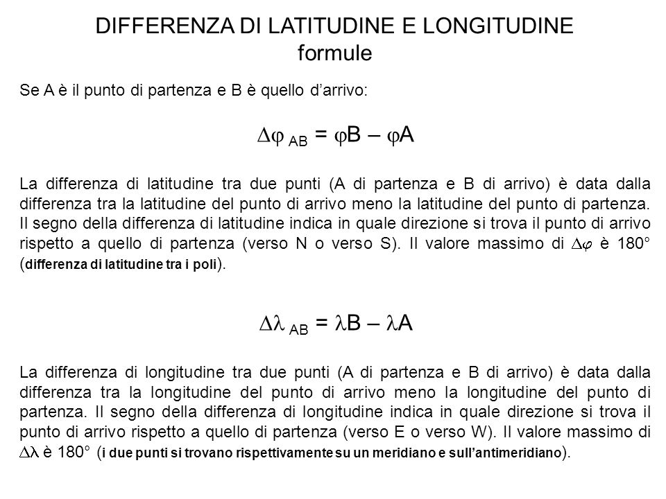 DIFFERENZA DI LATITUDINE E LONGITUDINE