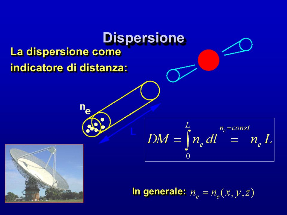 Dispersione La dispersione come indicatore di distanza: In generale: