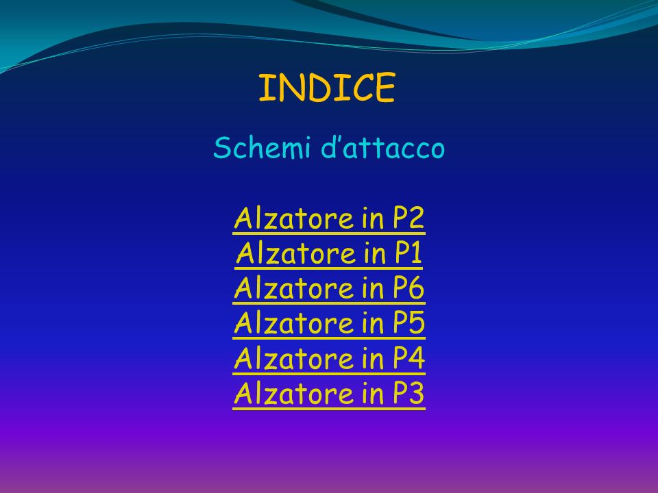 INDICE Schemi d'attacco Alzatore in P2 Alzatore in P1 Alzatore in P6