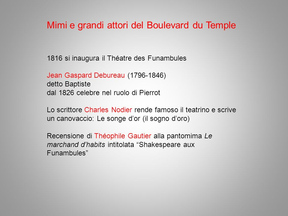 Mimi e grandi attori del Boulevard du Temple