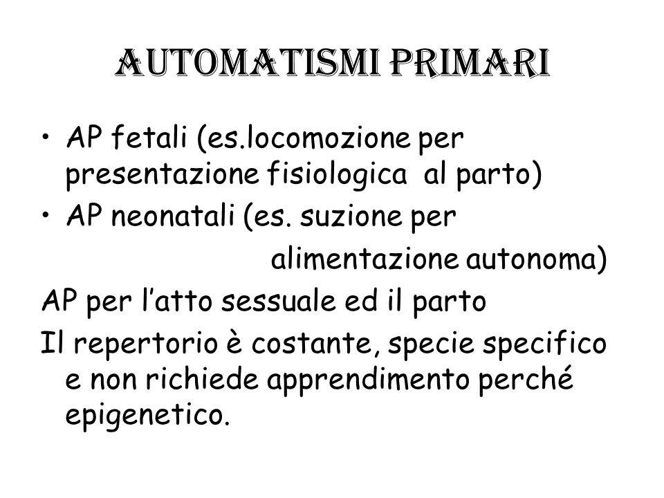 Automatismi primari AP fetali (es.locomozione per presentazione fisiologica al parto) AP neonatali (es. suzione per.