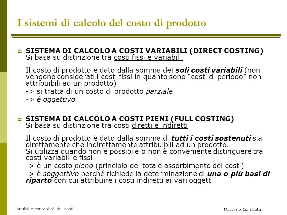 I sistemi di calcolo del costo di prodotto