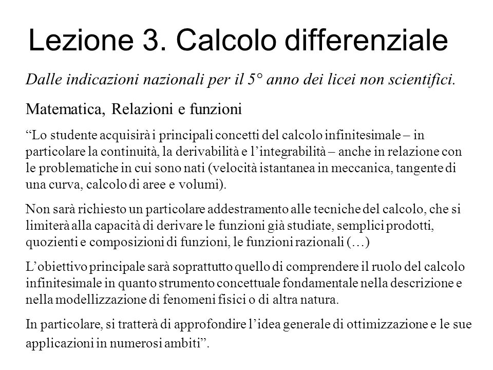 Lezione 3. Calcolo differenziale