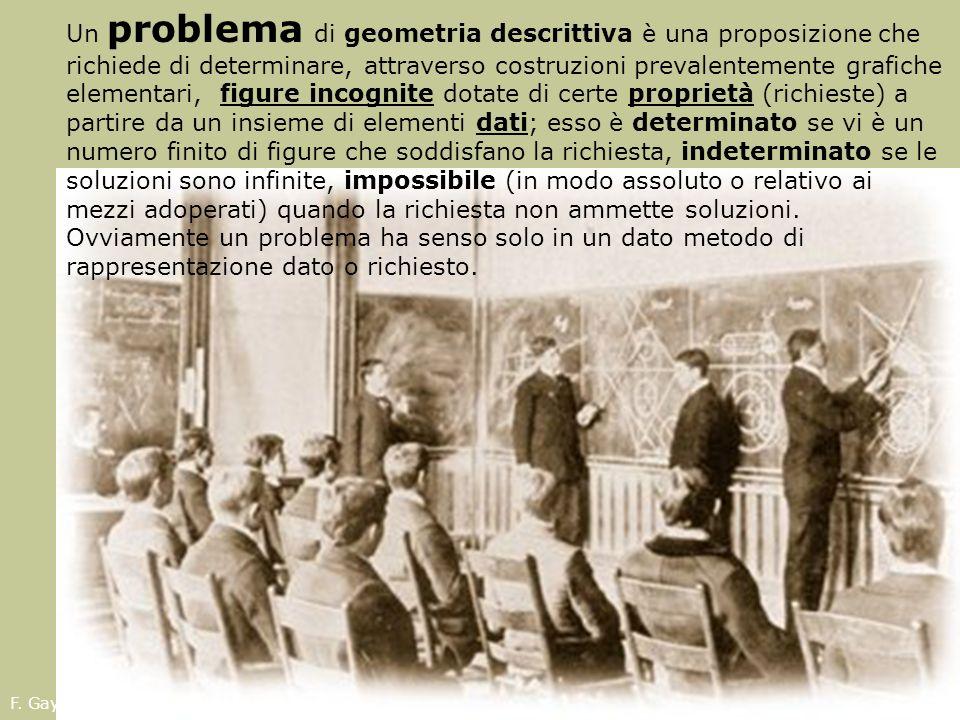 Un problema di geometria descrittiva è una proposizione che richiede di determinare, attraverso costruzioni prevalentemente grafiche elementari, figure incognite dotate di certe proprietà (richieste) a partire da un insieme di elementi dati; esso è determinato se vi è un numero finito di figure che soddisfano la richiesta, indeterminato se le soluzioni sono infinite, impossibile (in modo assoluto o relativo ai mezzi adoperati) quando la richiesta non ammette soluzioni. Ovviamente un problema ha senso solo in un dato metodo di rappresentazione dato o richiesto.