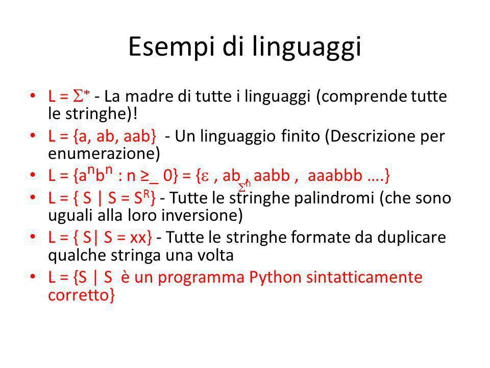 Esempi di linguaggi L = S* - La madre di tutte i linguaggi (comprende tutte le stringhe)!
