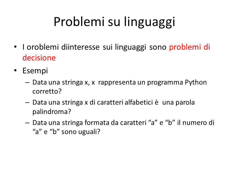 Problemi su linguaggi I oroblemi diinteresse sui linguaggi sono problemi di decisione. Esempi.