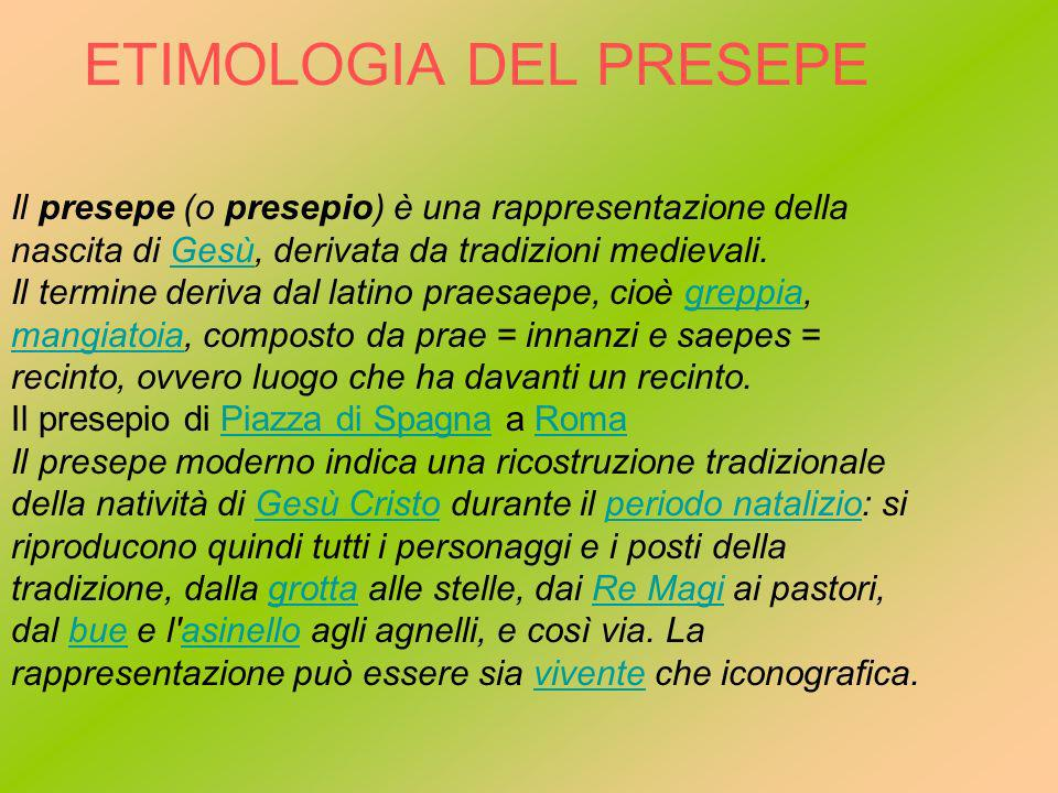 ETIMOLOGIA DEL PRESEPE