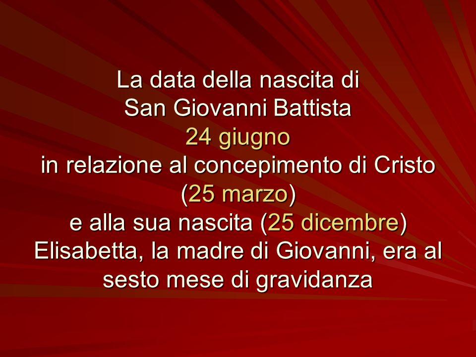La data della nascita di San Giovanni Battista 24 giugno
