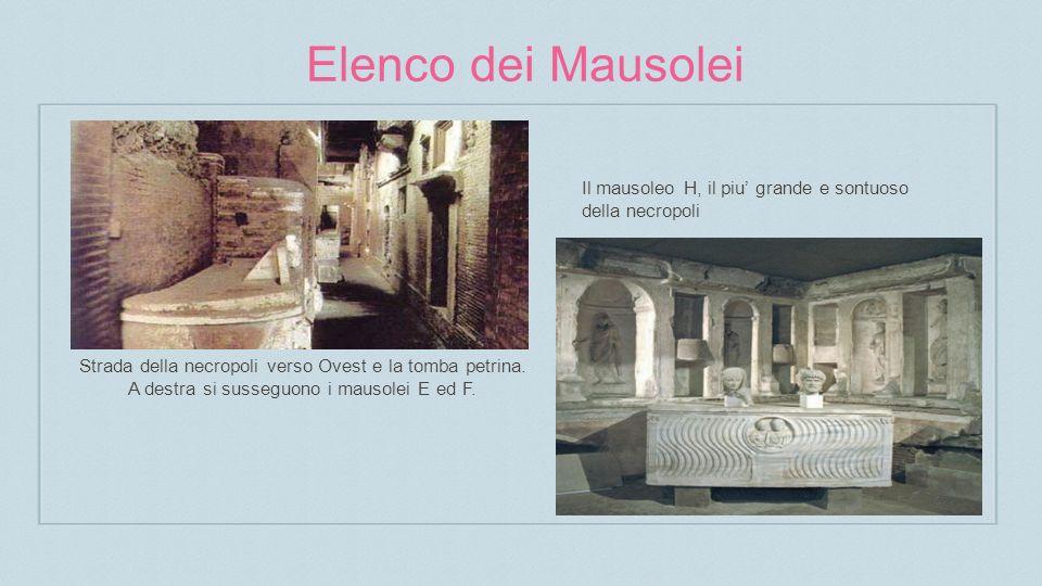 Elenco dei Mausolei Il mausoleo H, il piu' grande e sontuoso