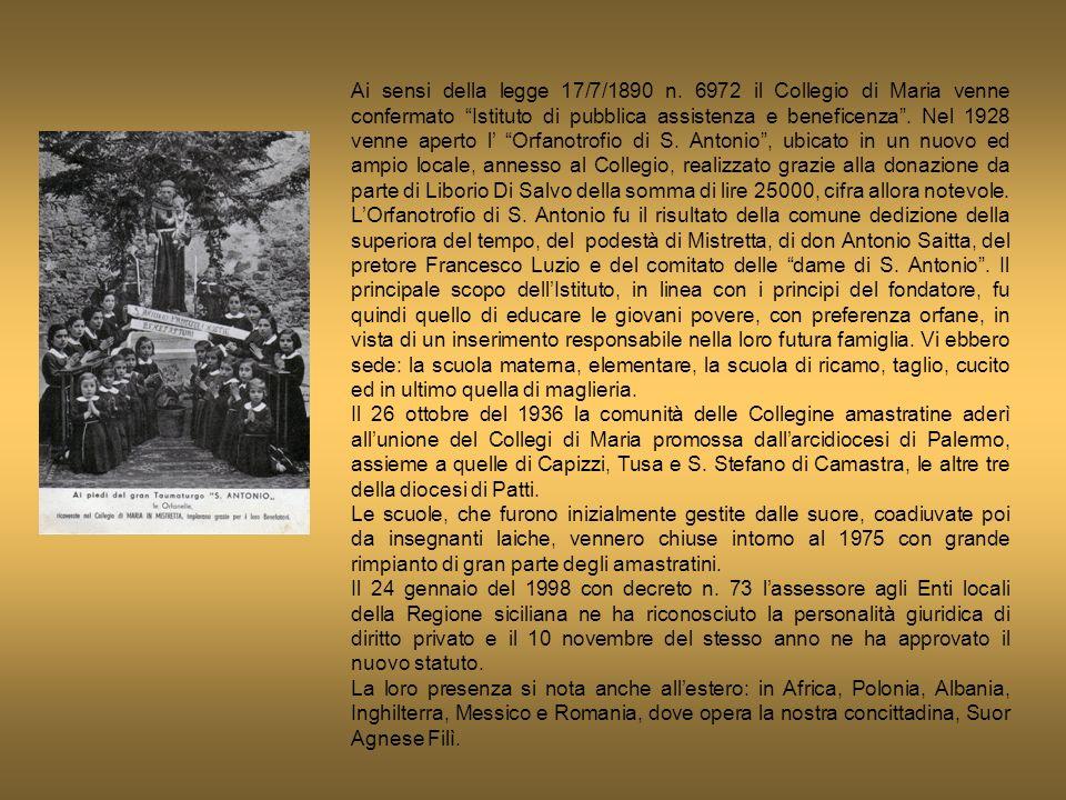 Ai sensi della legge 17/7/1890 n